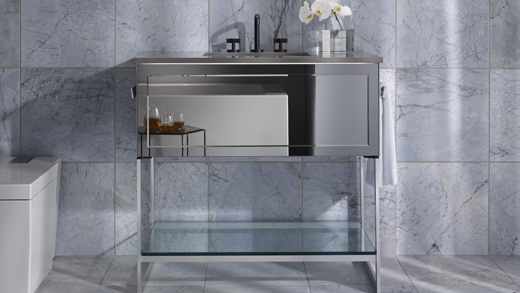 design glass vanities cartesian robern wall mount single drawer bathroom products modular with vanity